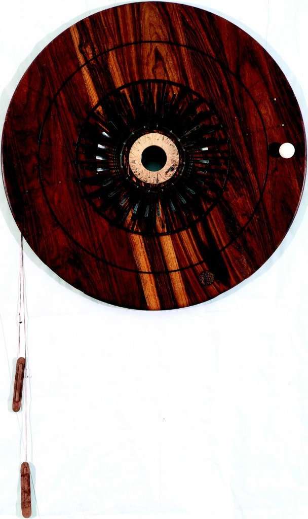 Sun, 2014 Wood, Mbira, Ceramic Leather, Glass Beads 127 x 75 cms