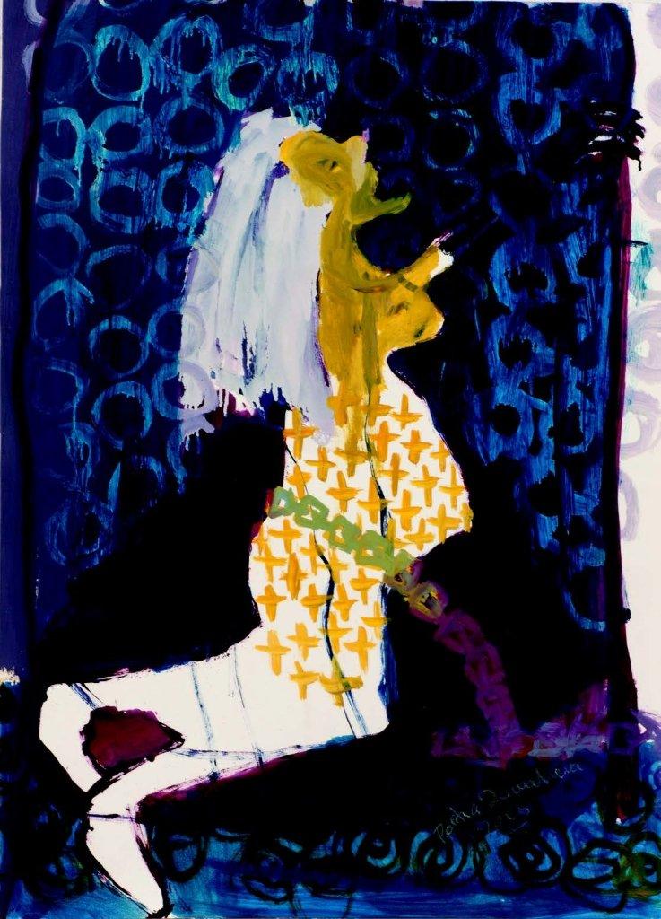 Portia Zvavahera, Musana Kupisa (Labour Pain), 2013 Mixed Media 88 x 64cms