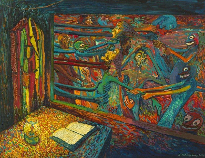 Cosmas Shiridzinomwa Please read the book Oil on Canvas 136cm x 178cm